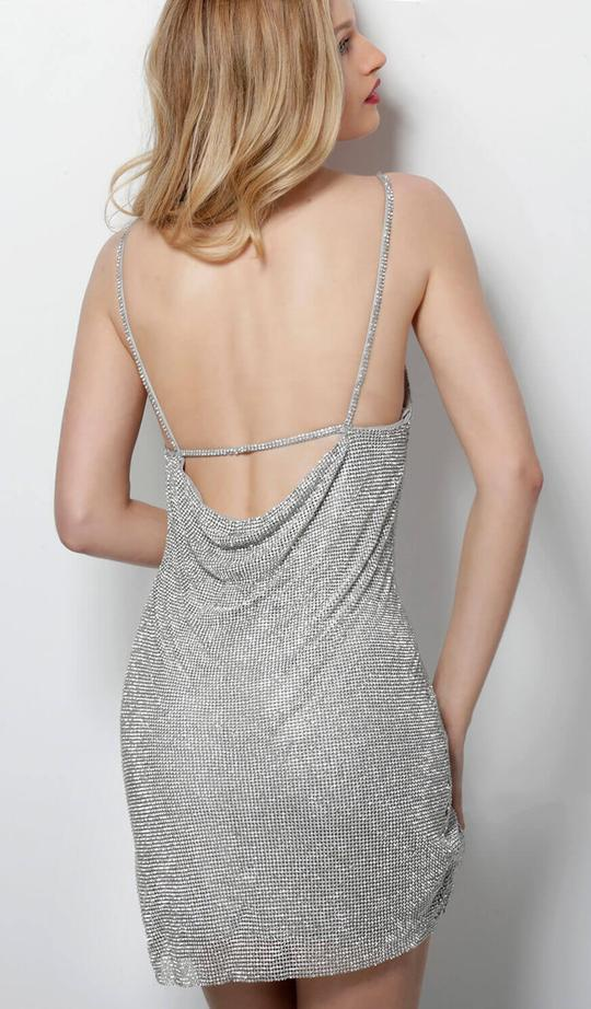 Jovani - Cowl Beaded Sheath Cocktail Dress 62503SC In Silver