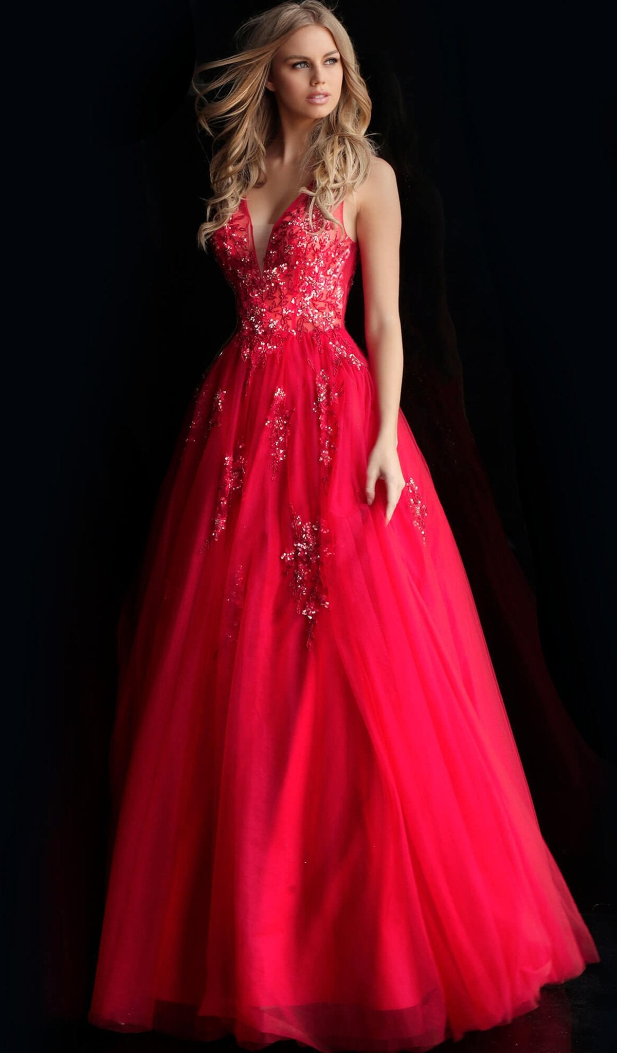 Jovani - 62619 Embellished Deep V-neck Ballgown With Open back in Red