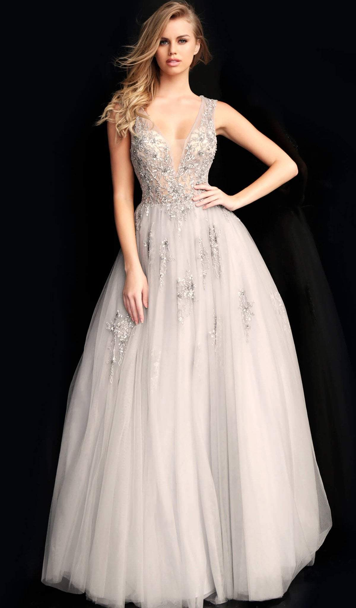 Jovani - 62619 Embellished Deep V-neck Ballgown With Open back in Silver