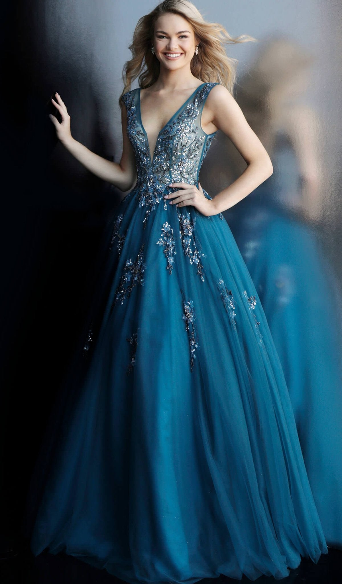 Jovani - 62619 Embellished Deep V-neck Ballgown With Open back in Blue
