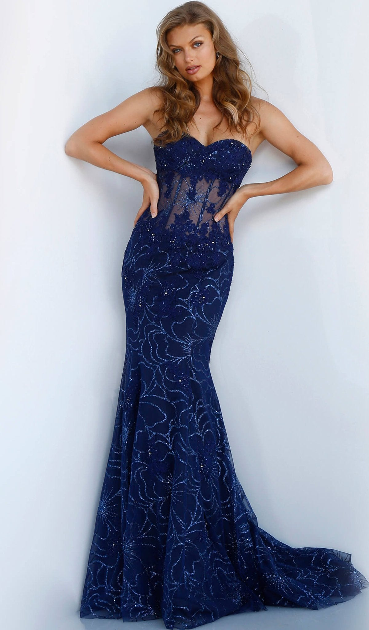Jovani - 62745 Strapless Floral Glittered Tulle Corset Mermaid Gown In Blue