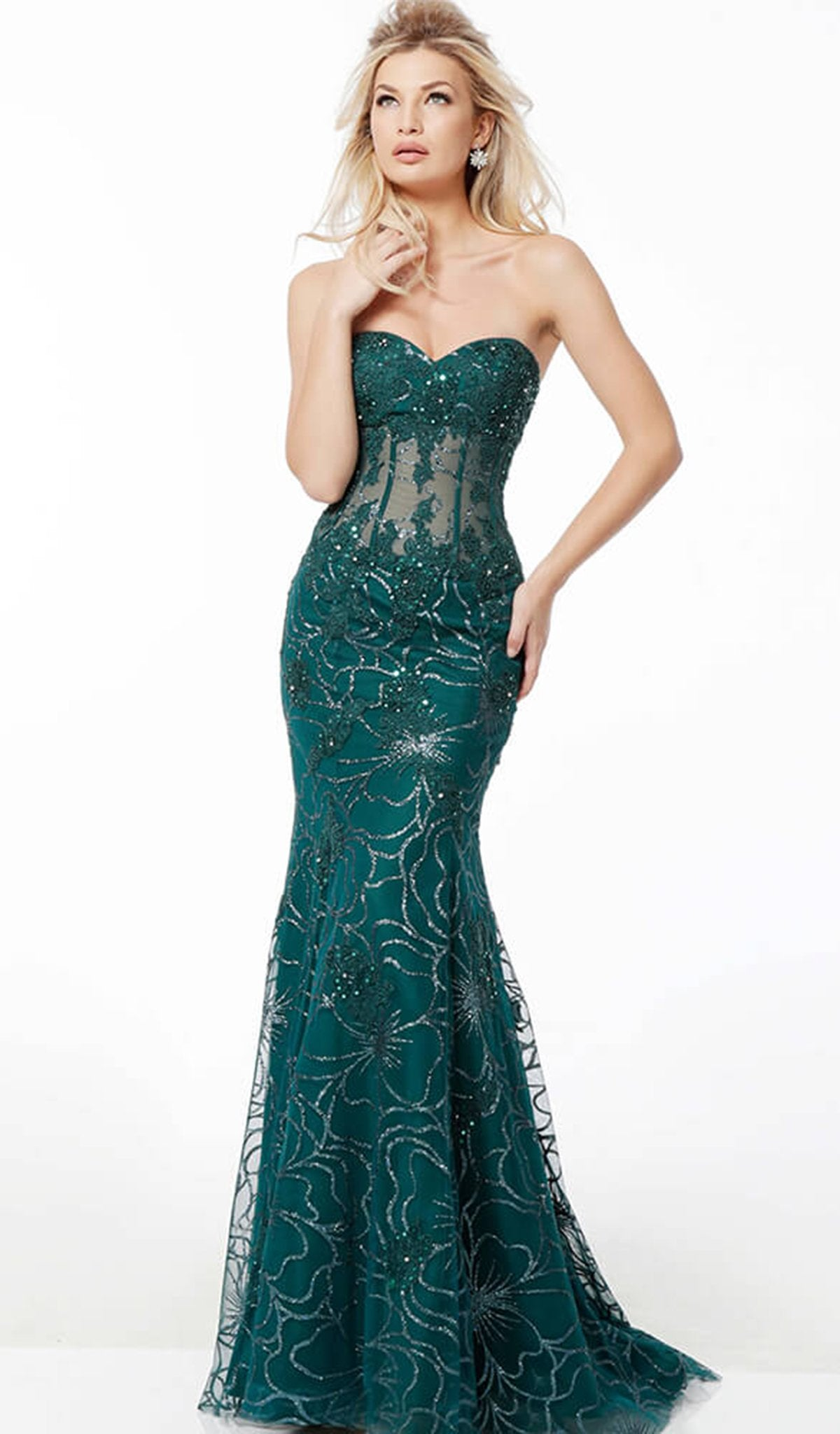 Jovani - 62745 Strapless Floral Glittered Tulle Corset Mermaid Gown In Green