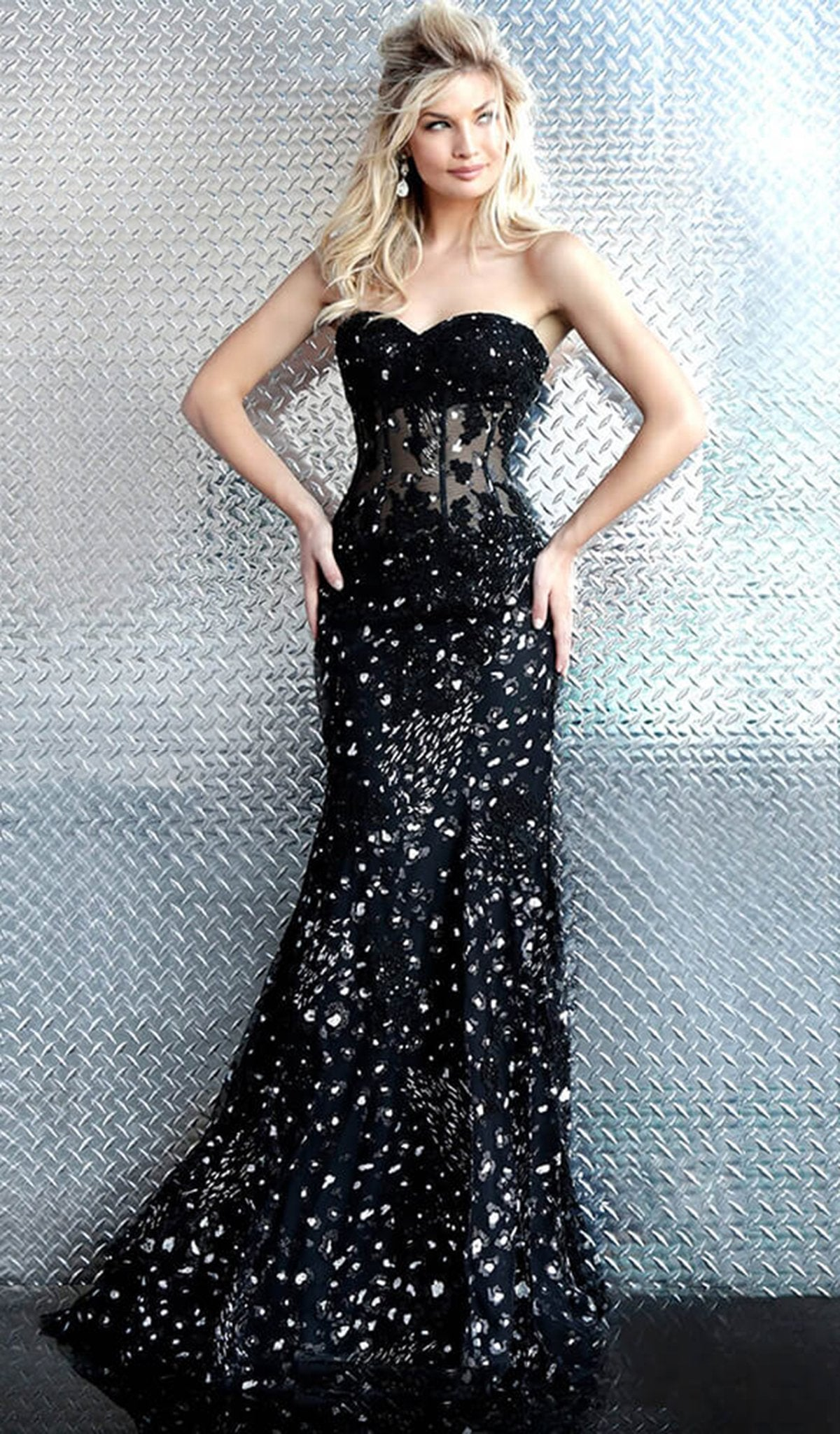 Jovani - 62746 Strapless Embellished Sweetheart Mermaid Dress in Black and Silver