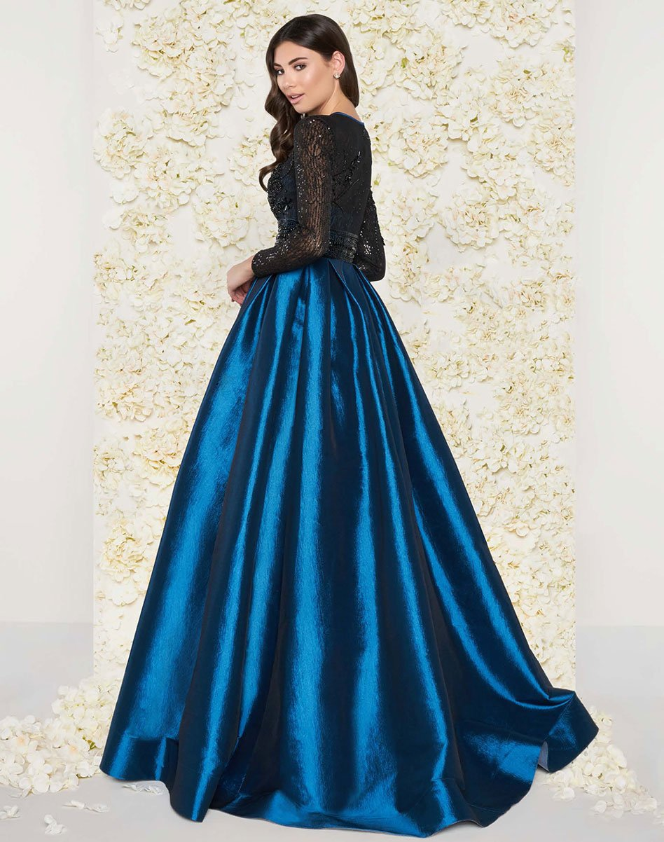 Mac Duggal Couture - 62883D Long-Sleeved Beaded Lace Shiny Dress in Blue