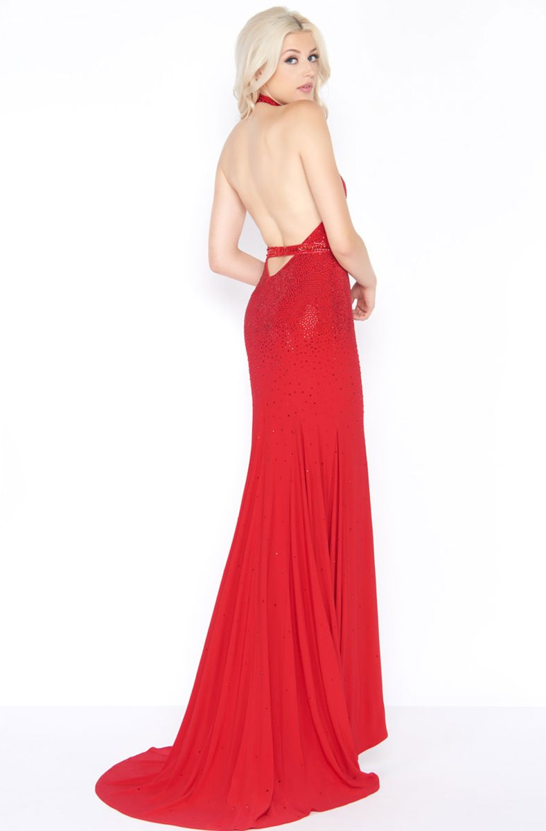 Cassandra Stone - 62974A Embellished High Halter Sheath Dress In Red