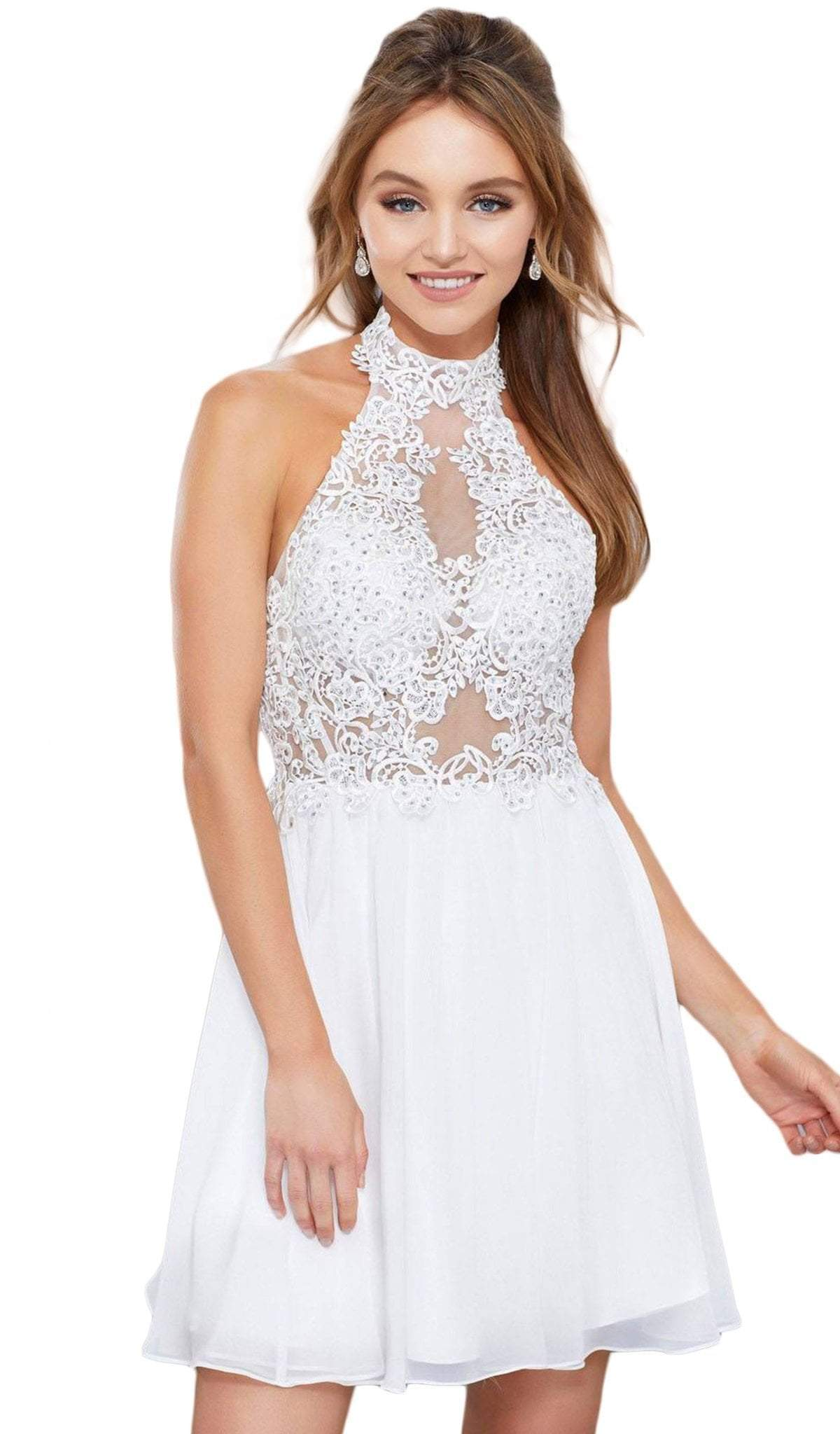 Nox Anabel - Lace Applique A-line Dress 6308SC