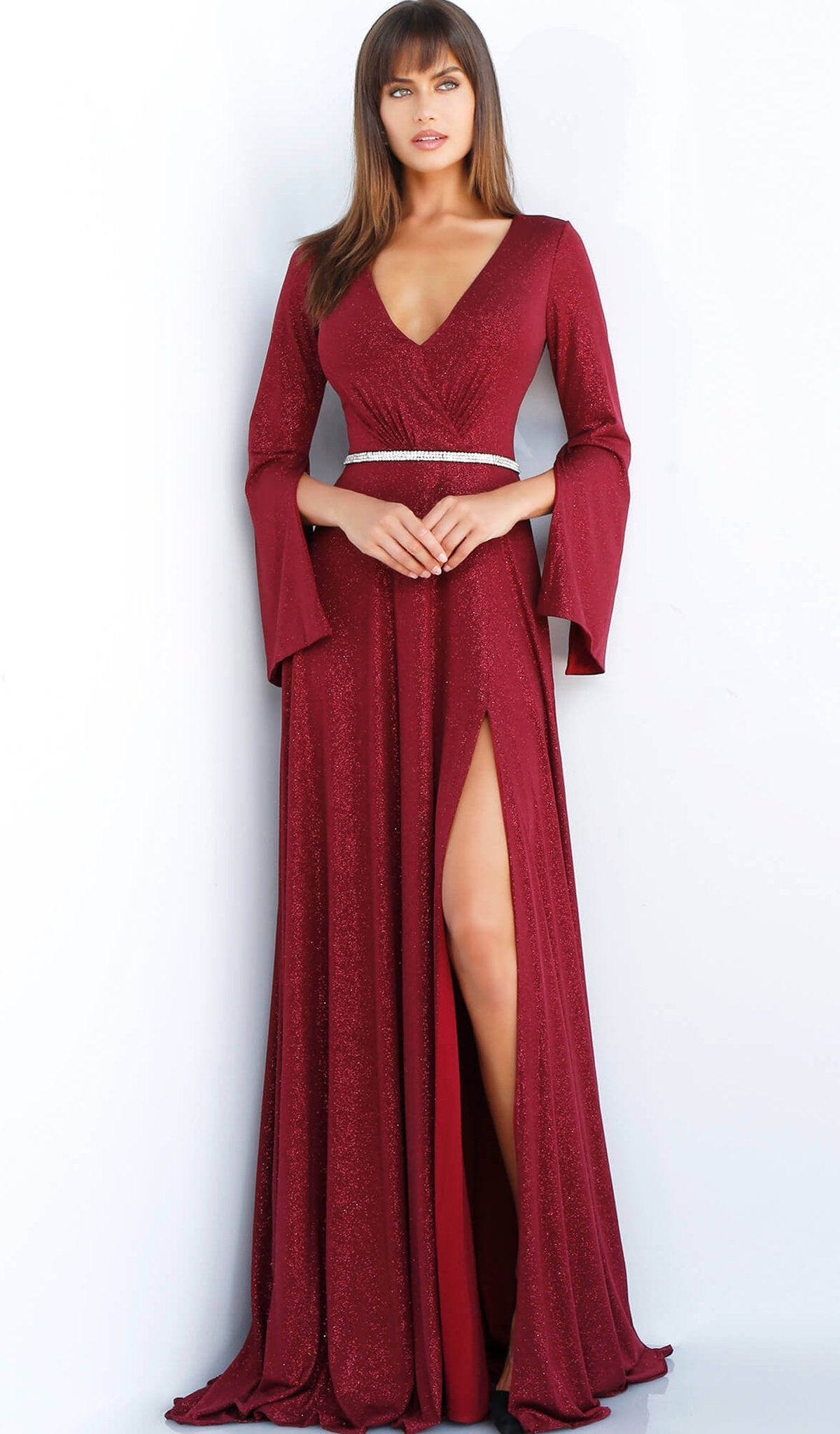 Jovani - 63124 Split Long Sleeve Glitter High Slit Gown In Red