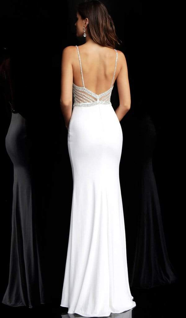 Jovani - Geometric Crystal Beaded Illusion Sheath Gown 63147SC - 3 pc Off White in Sizes 0, 6 and 14 Available CCSALE