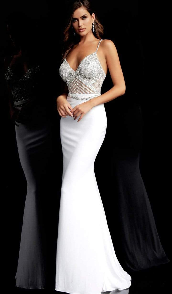 Jovani - Geometric Crystal Beaded Illusion Sheath Gown 63147SC - 3 pc Off White in Sizes 0, 6 and 14 Available CCSALE 12 / Off-White