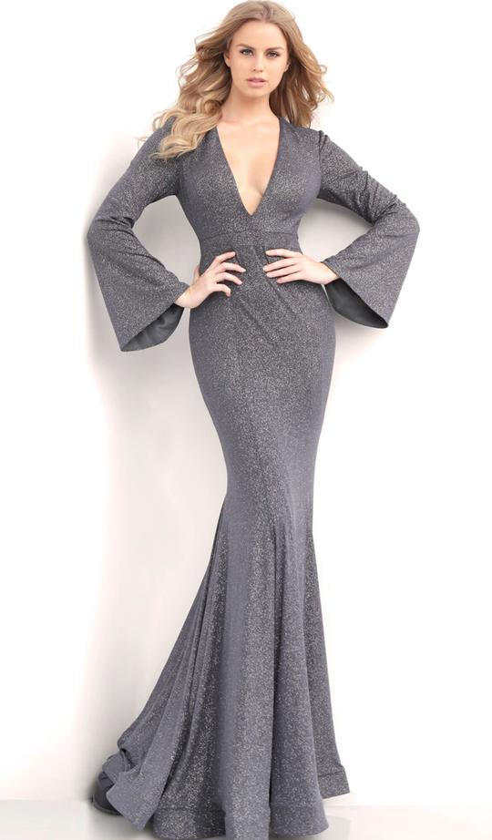 Jovani - Plunging V-neck Long Bell Sleeve Mermaid Evening Gown 63174 In Gray