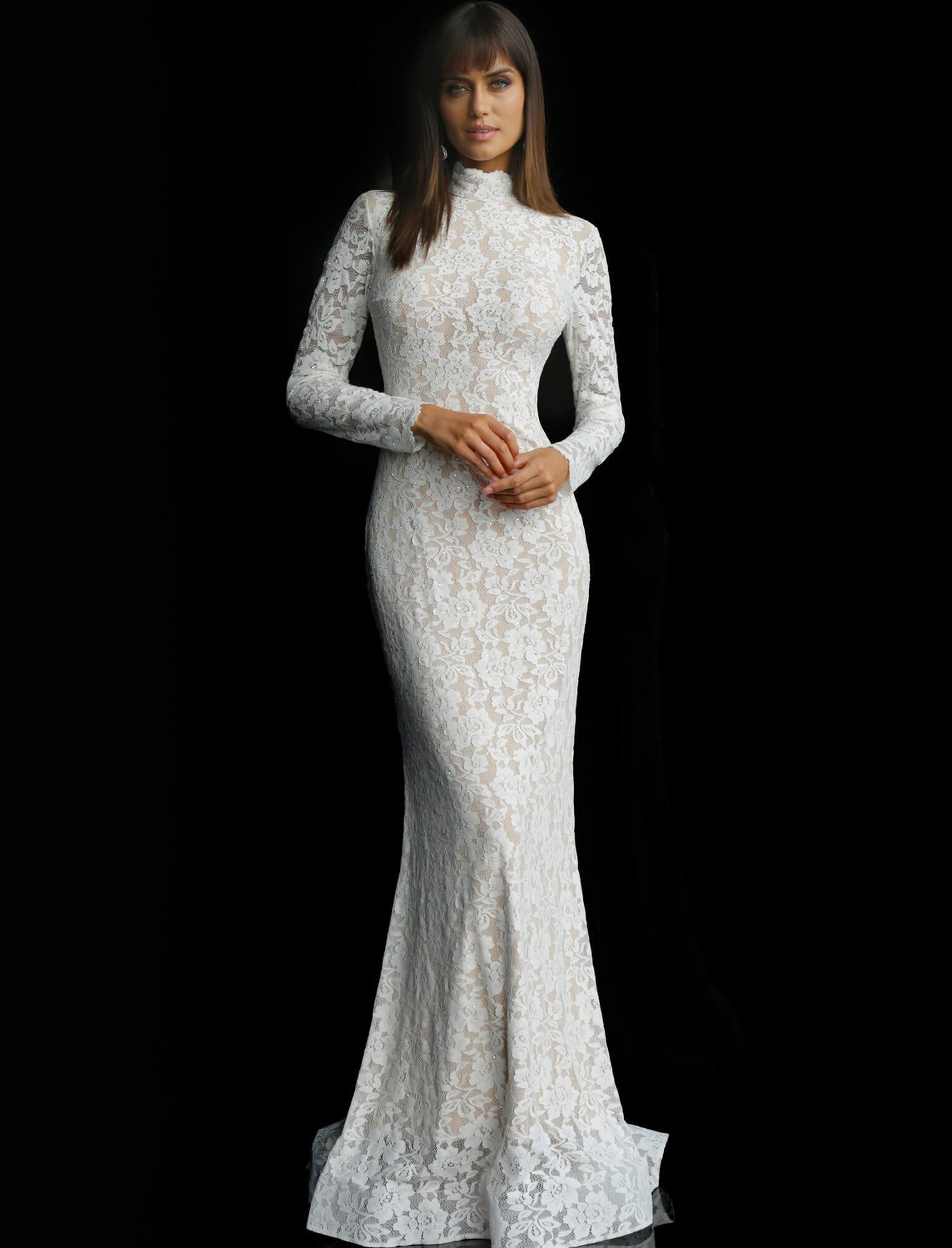 Jovani - Long Sleeve High Neck Trumpet Dress 63209 In White and Nude
