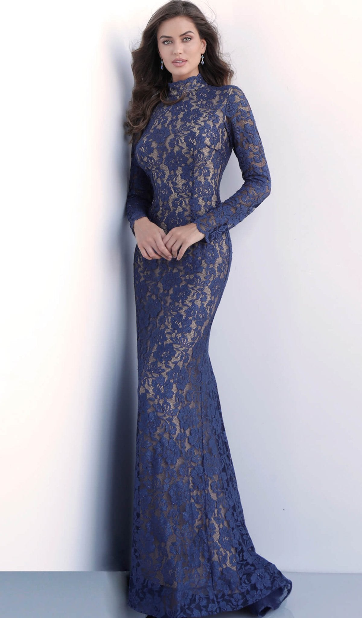 Jovani - 63209 Lace Long Sleeve High Neck Trumpet Dress In Blue