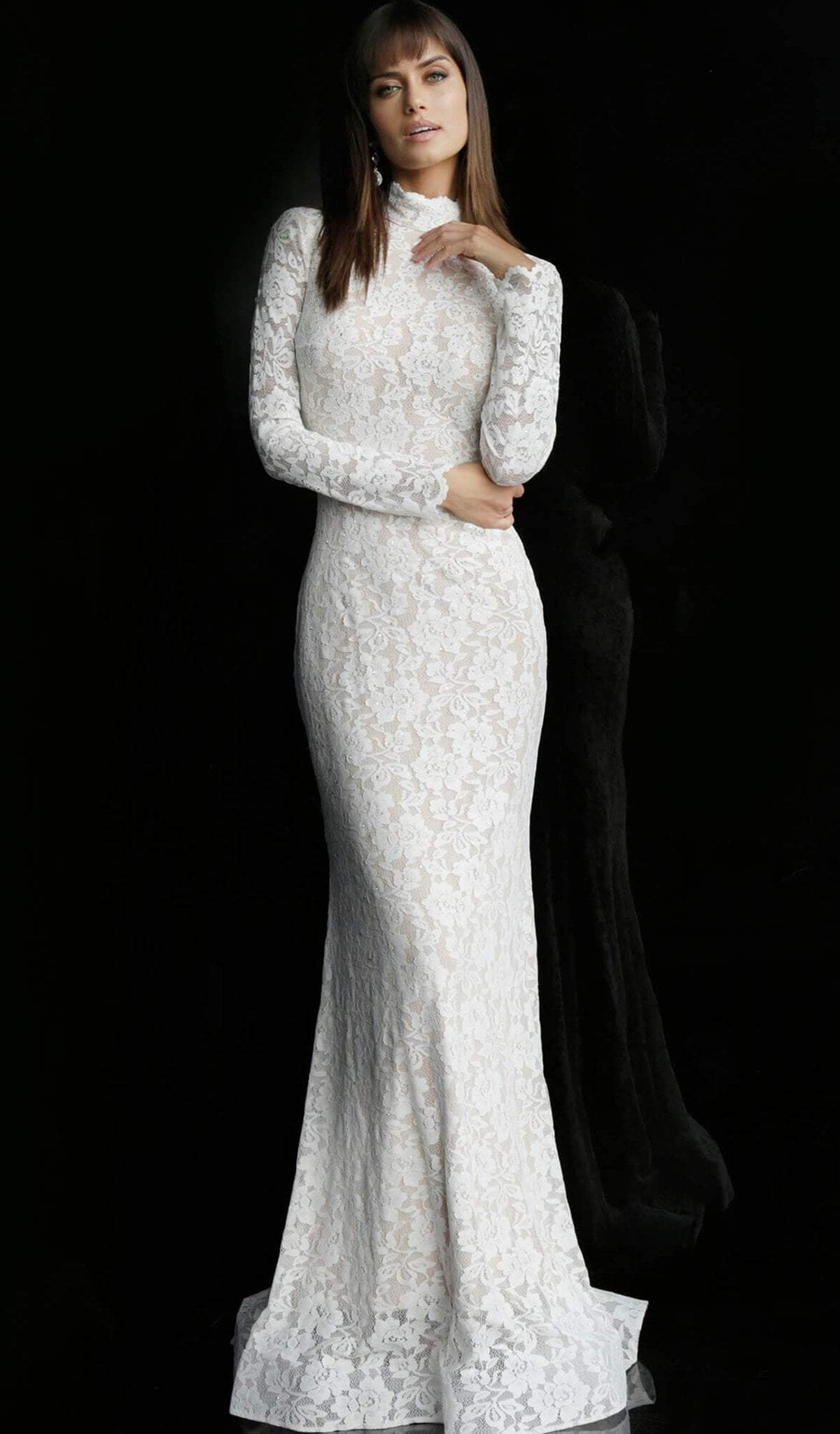 Jovani - 63209 Lace Long Sleeve High Neck Trumpet Dress In White