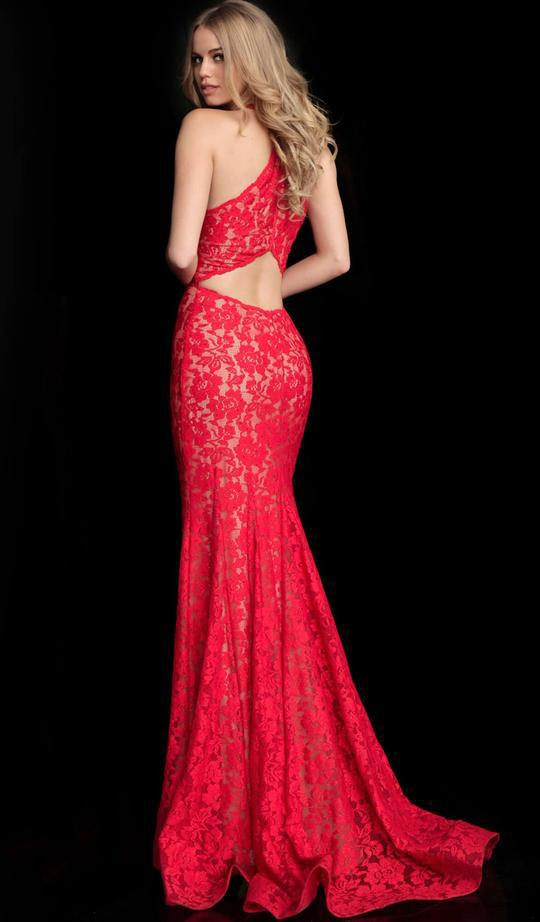 Jovani - Embellished Lace Halter Trumpet Dress 63214 In Red