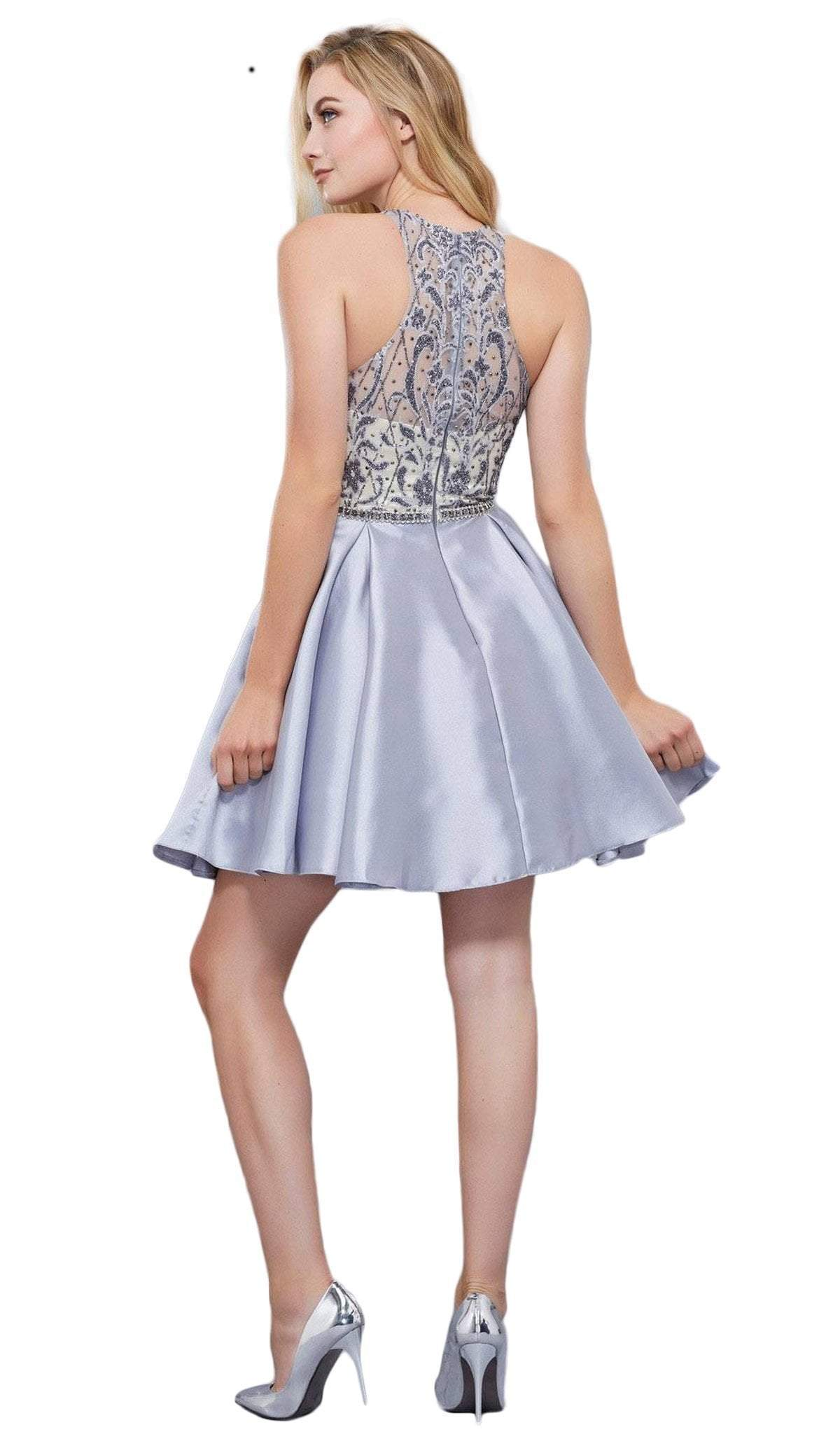 Nox Anabel - Embellished Illusion Halter A-line Dress 6328SC