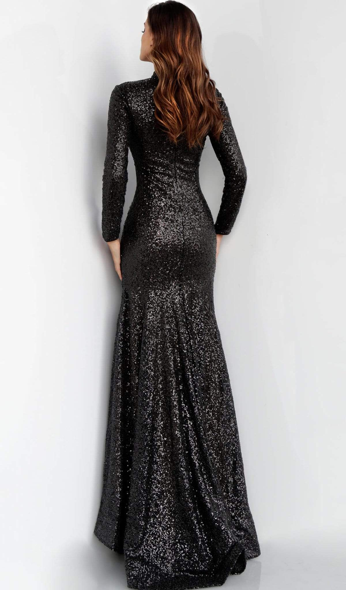Jovani - 63345 Glitter Long Sleeve High Neck Gown Special Occasion Dress