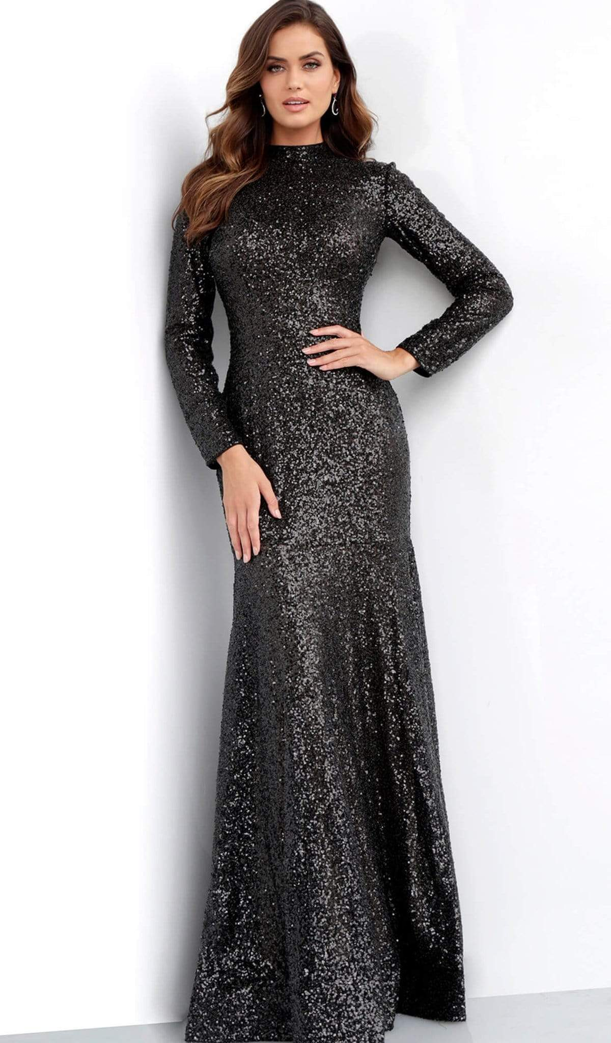 Jovani - 63345 Glitter Long Sleeve High Neck Gown Special Occasion Dress 00 / Black