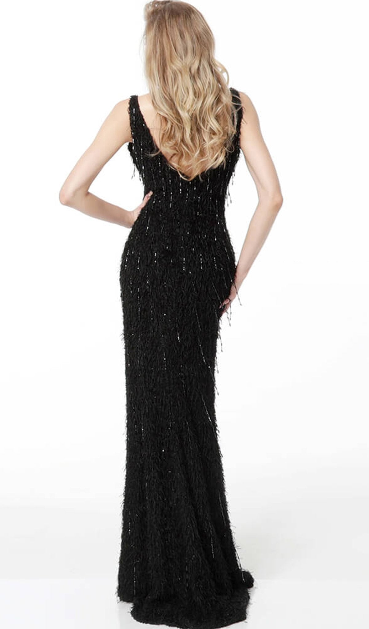 Jovani - 63450 Fringe Ornate Faux Feathered Long Gown In Black