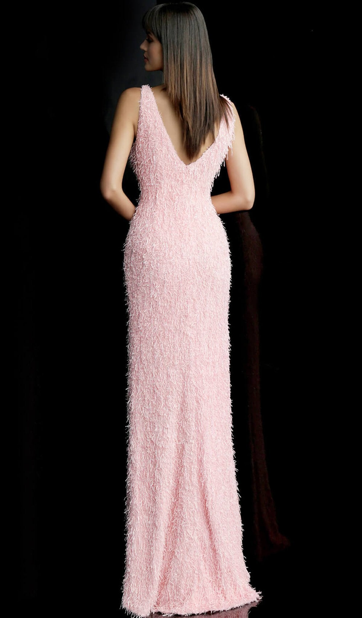 Jovani - 63450 Fringe Ornate Faux Feathered Long Gown In Pink
