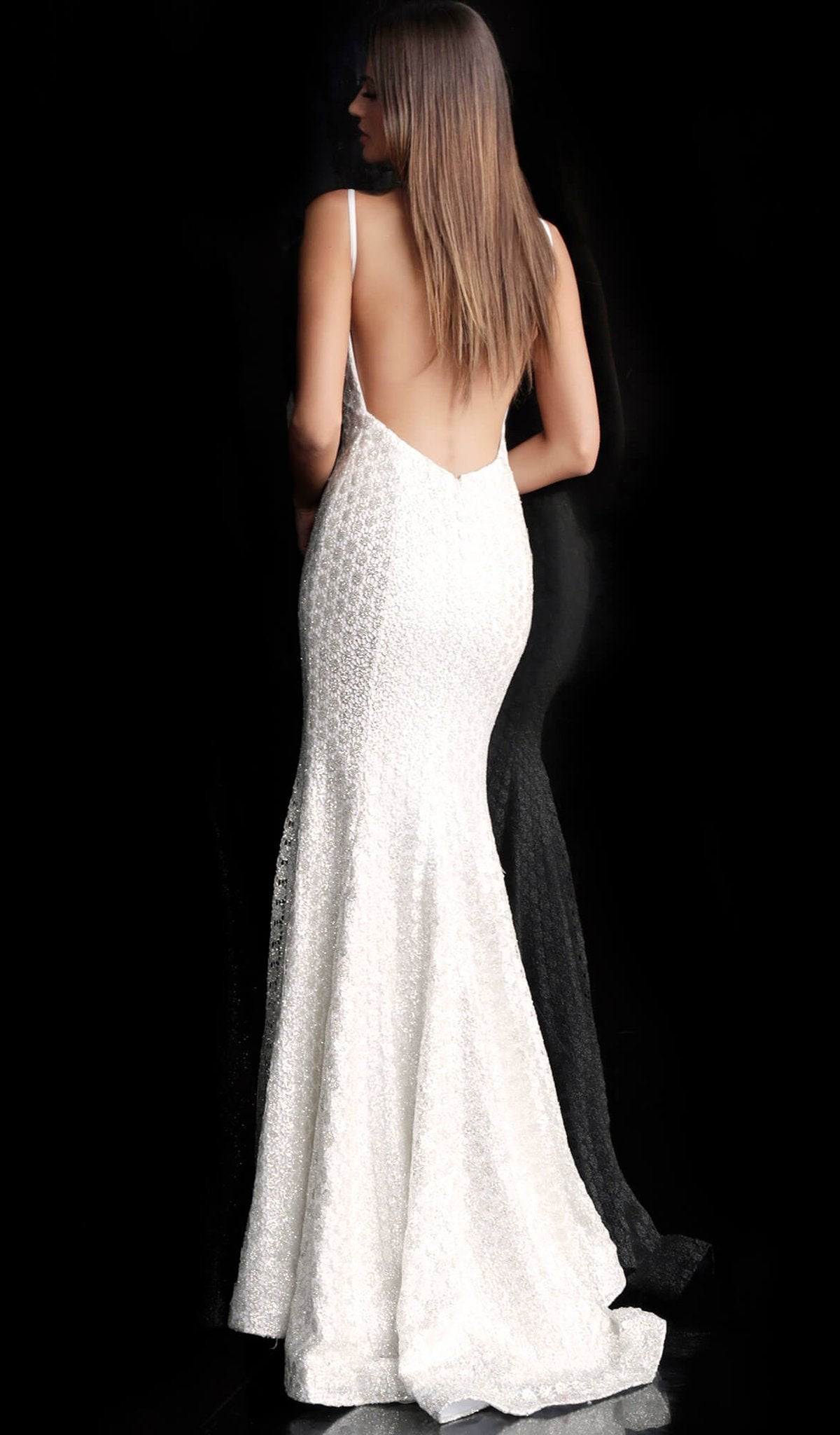 Jovani - Adorned Lace Backless Long Gown 63456 In White