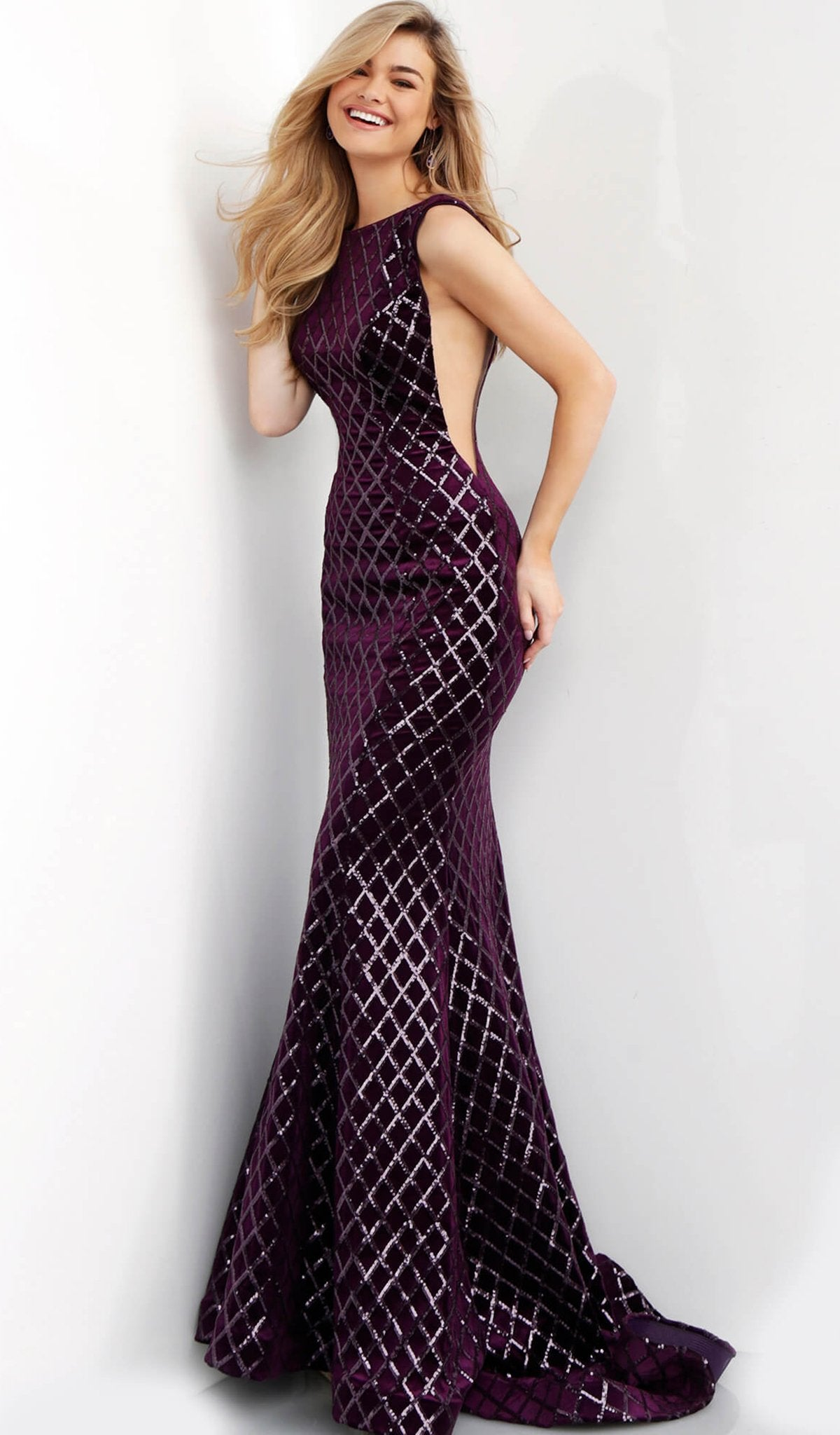 Jovani - 63512 Sequined Bateau Velvet Trumpet Dress With Train in Purple