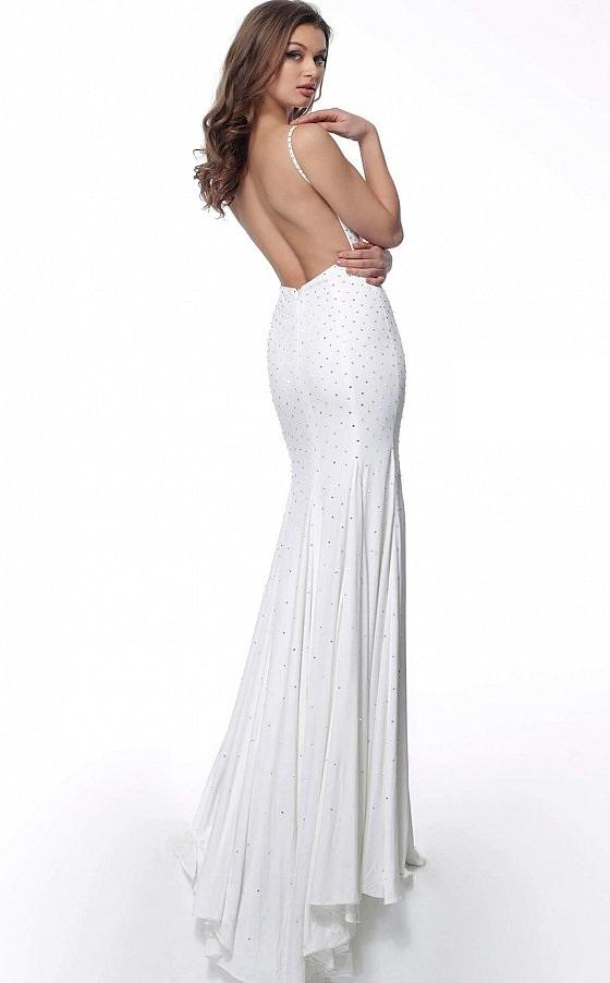 Jovani - 63563SC Beaded V-Neck Trumpet Dress