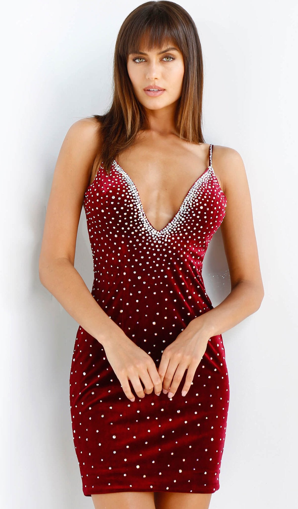 Jovani - 63880 Plunging Rhinestone-Sprinkled Velvet Dress in Red