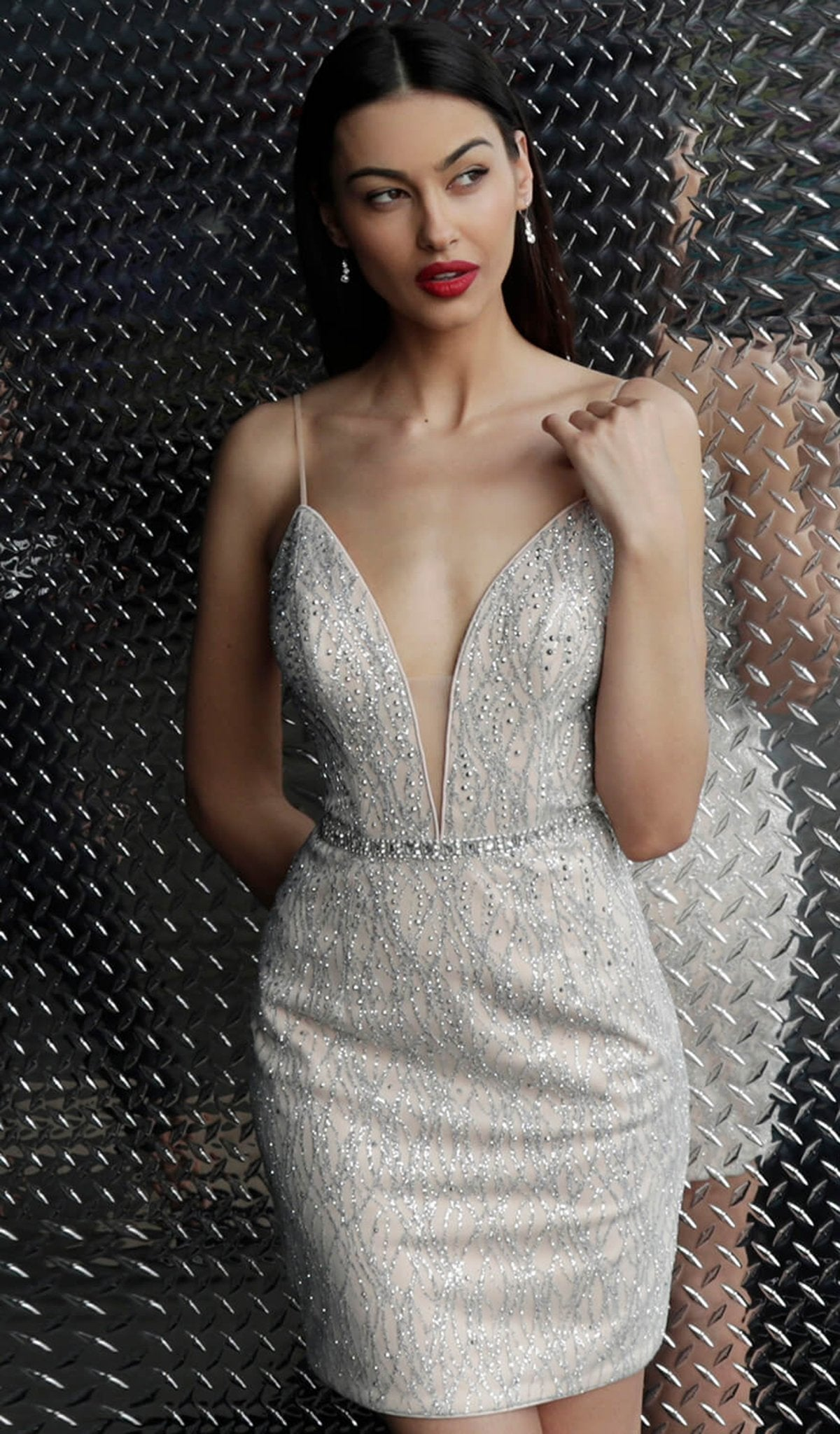 Jovani - 63906 Plunging Illusion Glitter Backless Cocktail Dress In Silver and Nude
