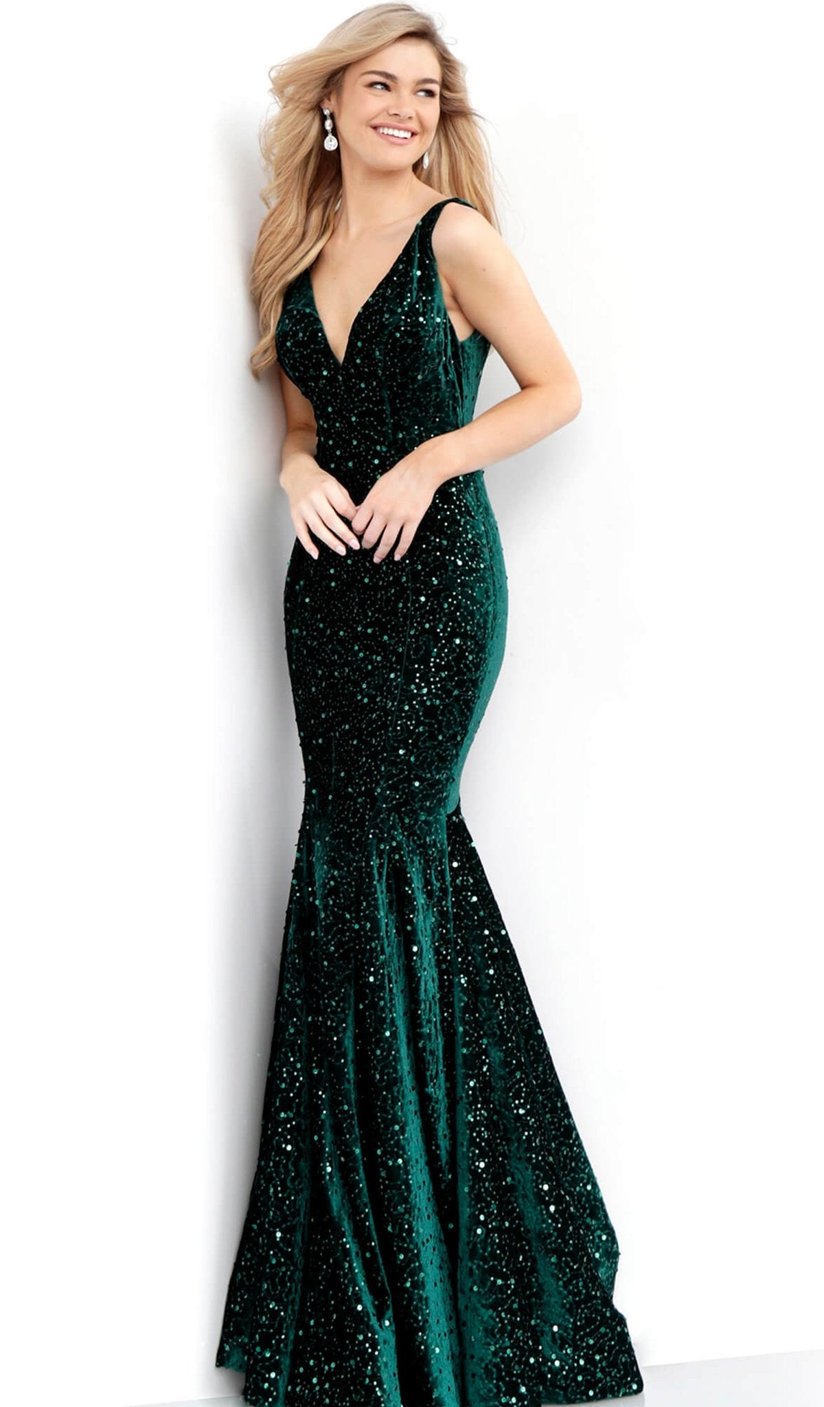 Jovani - 63917 Sequined Plunging V-neck Velvet Mermaid Dress in Green