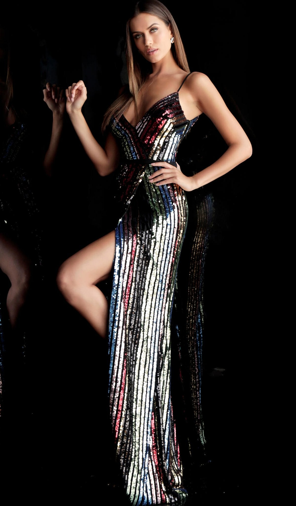Jovani - 63962 Sequin-Striped High Slit Sheath Gown in Black