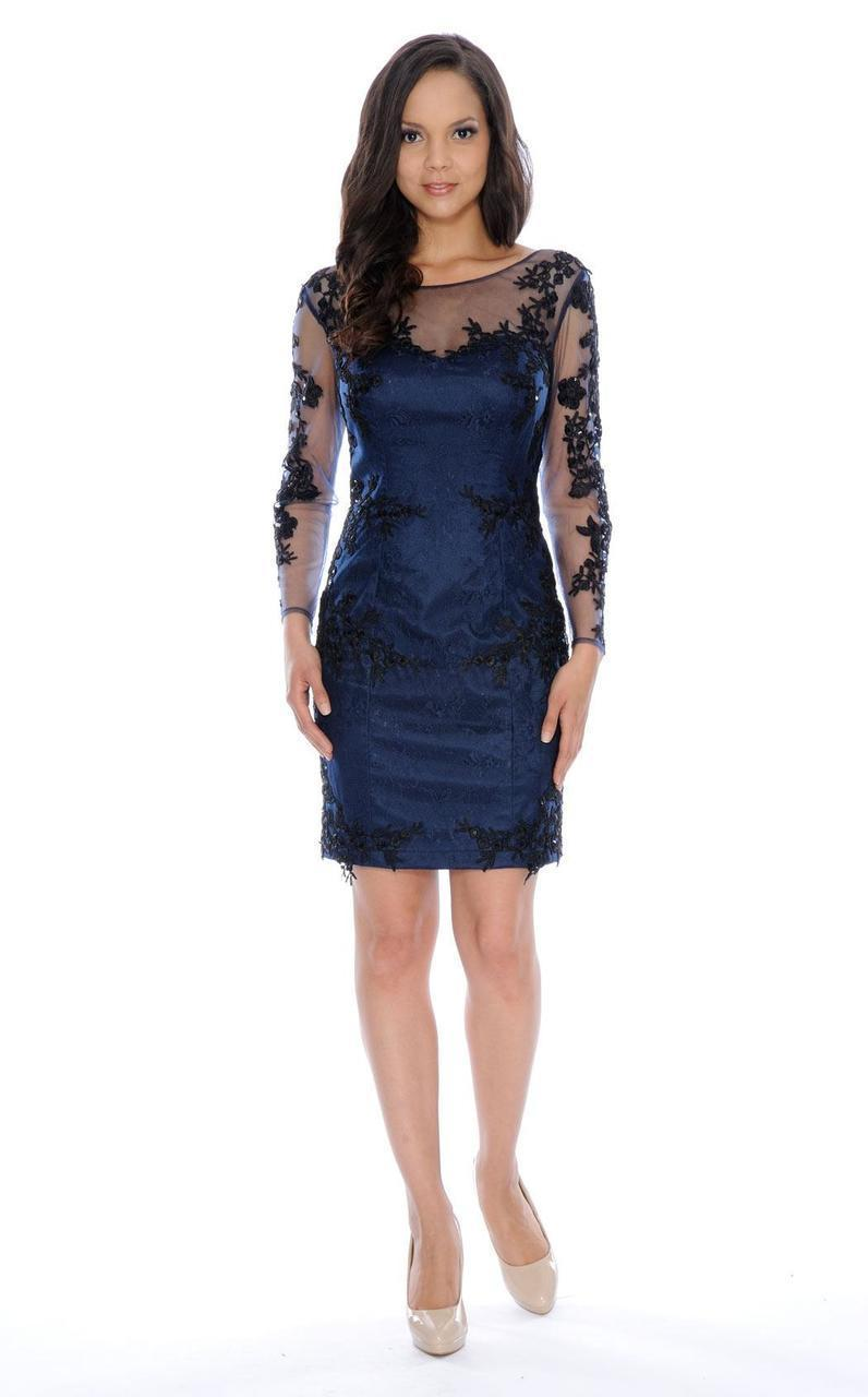 Decode 1.8 - Long Sleeve Illusion Bateau Neck Dress in Black and Blue
