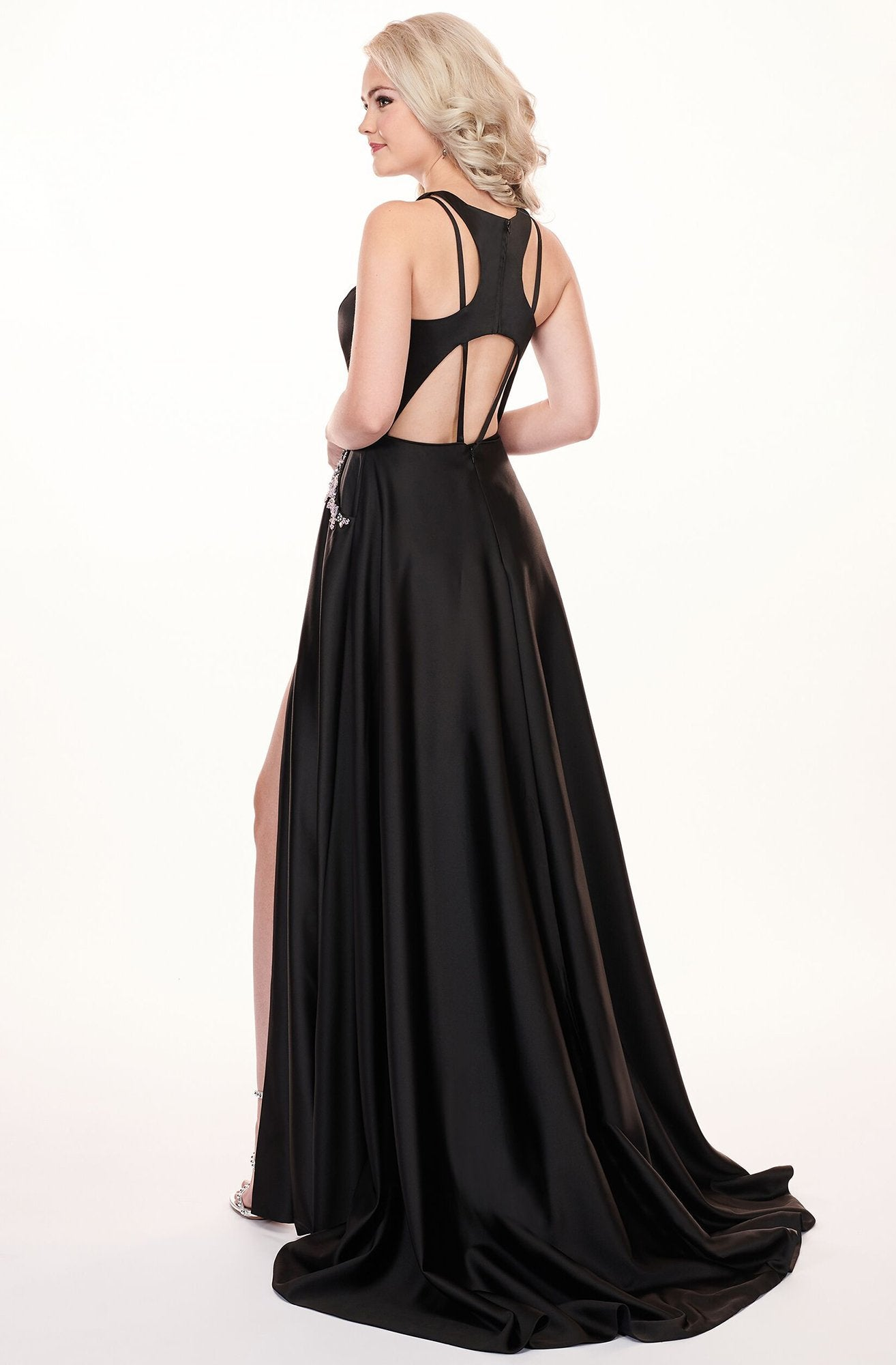 Rachel Allan - 6405 Halter Neck and Shorts with Overlay Prom Dress In Black