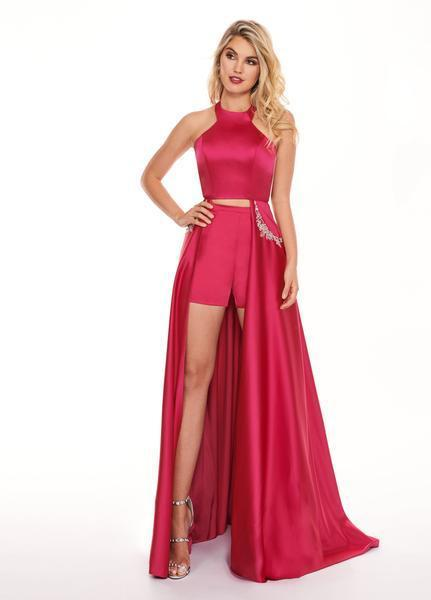 Rachel Allan - 6405 Halter Neck and Shorts with Overlay Prom Dress In Pink