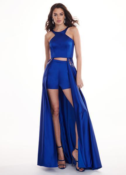 Rachel Allan - 6405 Halter Neck and Shorts with Overlay Prom Dress In Blue