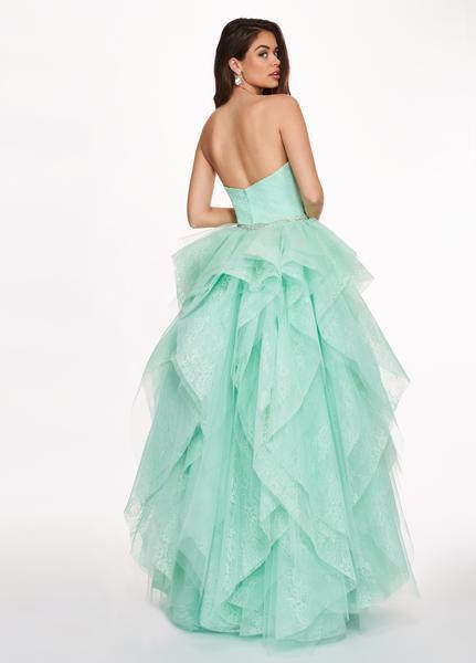 Rachel Allan - 6406 2-Piece Style Lace and Tulle High-Low Gown In Green