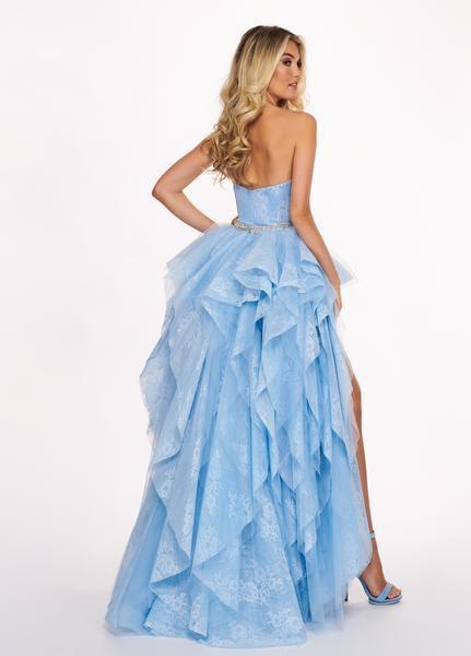 Rachel Allan - 6406 2-Piece Style Lace and Tulle High-Low Gown In Blue