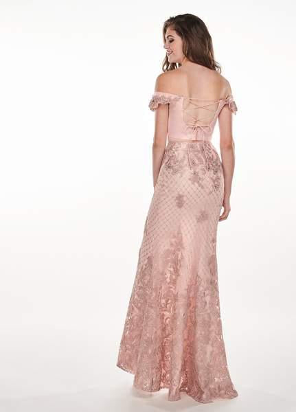 Rachel Allan - 6407 Embroidered Two Piece Off-Shoulder Trumpet Dress In Pink