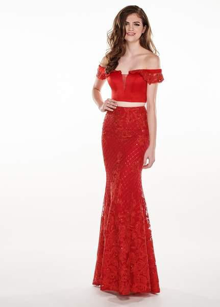 Rachel Allan - 6407 Embroidered Two Piece Off-Shoulder Trumpet Dress In Red