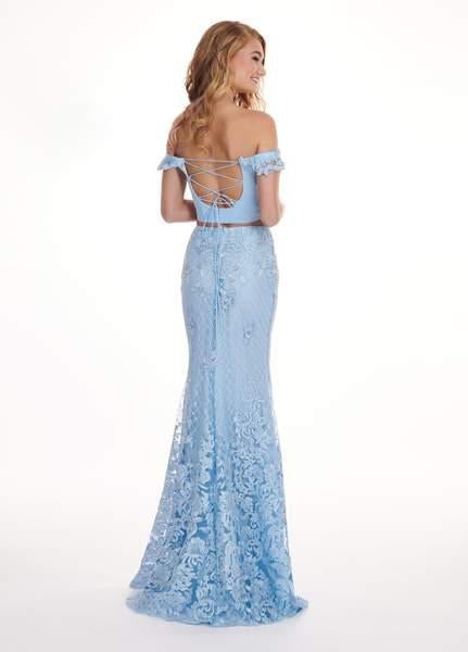 Rachel Allan - 6407 Embroidered Two Piece Off-Shoulder Trumpet Dress In Blue