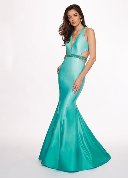 Rachel Allan - 6413 V Neck Beaded Waist Matte Satin Mermaid Gown In Green