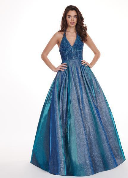 Rachel Allan - 6414 Jeweled Bustier Plunging Halter Ballgown In Blue