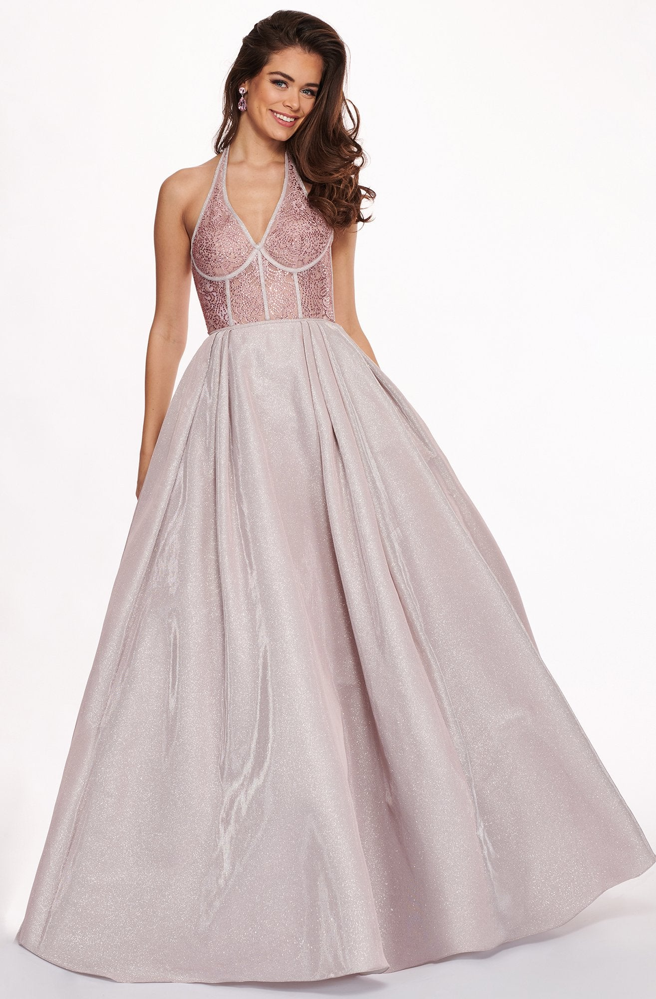 Rachel Allan - 6414 Jeweled Bustier Plunging Halter Ballgown In Pink and Silver