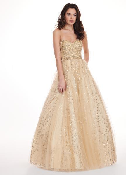 Rachel Allan - 6417 Crystal Embellished Strapless Ballgown In Gold