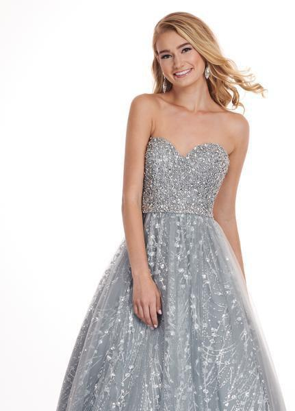 Rachel Allan - 6417 Crystal Embellished Strapless Ballgown In Silver