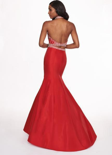 Rachel Allan - 6418 Two-Piece Crystal Bodice Trumpet Gown In Red