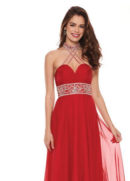 Rachel Allan - 6421 Rhinestone Ornate Collared Sweetheart Chiffon Gown In Red