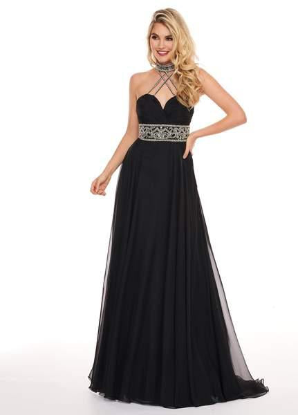 Rachel Allan - 6421 Rhinestone Ornate Collared Sweetheart Chiffon Gown In Black