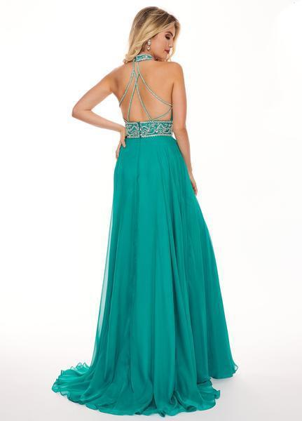Rachel Allan - 6421 Rhinestone Ornate Collared Sweetheart Chiffon Gown In Green