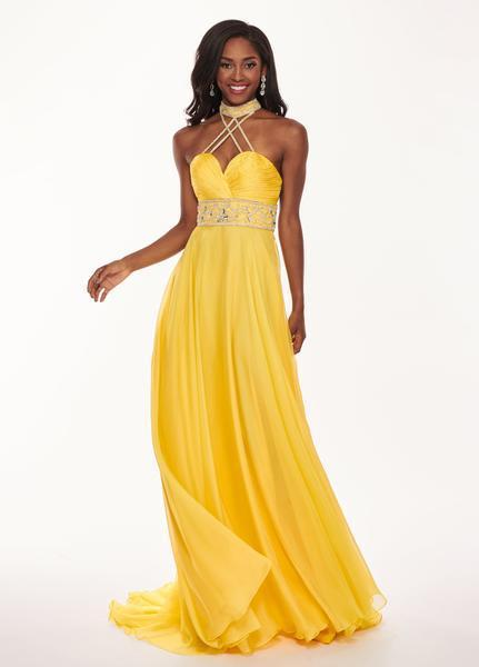 Rachel Allan - 6421 Rhinestone Ornate Collared Sweetheart Chiffon Gown In Yellow