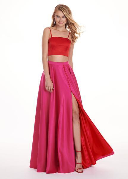 Rachel Allan - 6422 Two Piece Matte Satin A-line Dress In Red and Pink